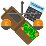 Brown purse with paper cash and coins, calculator and scales set royalty free stock images
