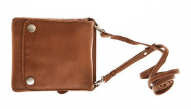 Brown purse on whiite background Royalty Free Stock Images