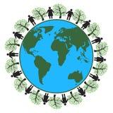brown räknad dagjord som miljölövverk går den gående gröna treen för text för slogan för ordstäv för kramnaturuttryck Arkivbilder