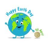 brown räknad dagjord som miljölövverk går den gående gröna treen för text för slogan för ordstäv för kramnaturuttryck Rolig illus Royaltyfri Bild