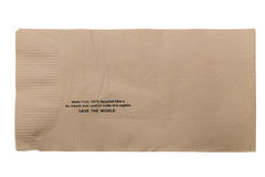 Brown a réutilisé la serviette de barre d'isolement sur le blanc image libre de droits