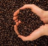 Brown-Röstkaffeebohnen, Samen auf dunklem Hintergrund Espressodunkelheit, Aroma, schwarzes Koffeingetränk Nahaufnahmeenergiemokka lizenzfreie stockbilder