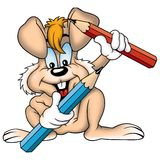 Brown rabbit and crayons. High detailed and coloured illustration Royalty Free Stock Photo