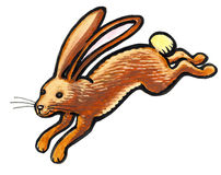 Brown rabbit jumping in nature Royalty Free Stock Photo