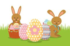 Brown rabbits with baskets and eggs decoration on meadow. Vector illustration Royalty Free Stock Image