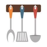 Brown rack utensils kitchen icon Stock Photography