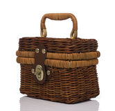 Brown Rattan Hand bag Side View Royalty Free Stock Photo