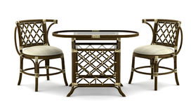 Brown rattan table with chairs isolated on white Stock Image