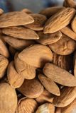 Brown raw almonds pile closeup - Image stock photography
