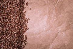 Brown raw flax seeds linseed border frame Stock Images