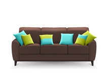 Brown Realistic Sofa With Decorative Cushions Royalty Free Stock Photos