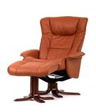 Brown recliner with footstool royalty free stock photo