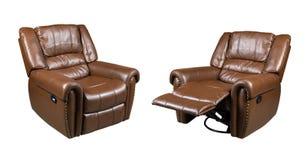 Brown recliner Rzemienny krzesło odizolowywający na białym tle zdjęcie royalty free