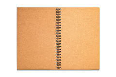 Brown recycle paper blank notebook open isolated. On white background royalty free stock photography