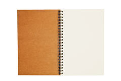 Brown recycle paper blank notebook open isolated. On white background stock images