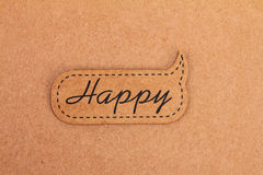 Brown recycle paper happy label Royalty Free Stock Photos