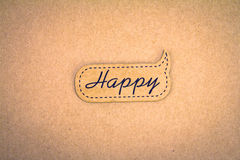 Brown recycle paper happy label Royalty Free Stock Photography