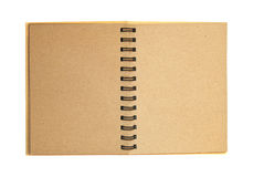 Brown recycle paper notebook open isolated. On white background royalty free stock photo
