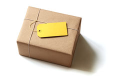 Brown recycled paper gift parcel Royalty Free Stock Photography