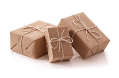 Brown recycled paper gift parcels Royalty Free Stock Photo