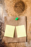 Brown Recycled paper sticky note With green Push Pin and small y Stock Photography