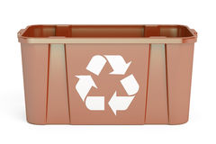 Brown recycling bin, 3D rendering. On white background Stock Image