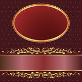 Brown and red background. With golden ornaments Stock Photo