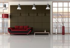 Brown red and black living room Royalty Free Stock Photos
