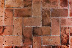 Brown red bricks floor Royalty Free Stock Photography