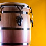 Brown and Red Conga Drum On Gold Royalty Free Stock Image