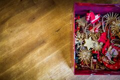 Brown Red Floral Decors in Red Box Stock Photo