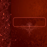 Brown-red Grunge Lace Background Banner. Brown-red Grunge Lace Background With Banner. Vector Illustration Stock Photos