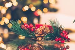 Brown and Red Pinecone Christmas Decoration Stock Images