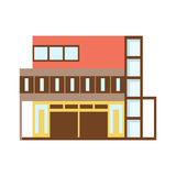 Brown And REd Shopping Mall Modern Building Exterior Design Project Template Isolated Flat Illustration Royalty Free Stock Photography