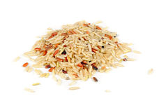 Brown, Red and Wild Rice Isolated on White Background Stock Image