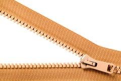 Brown-Reißverschluss mit den Metallzähnen Stockbilder