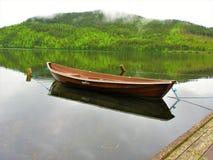Brown-Reihenboot, das mit dem Wald als Hintergrund sich reflektiert stockfoto
