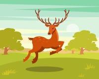 Brown a repéré des cerfs communs avec les andouillers fonctionnant, l'animal sauvage parmi un contexte de pré vert et l'illustrat Illustration de Vecteur