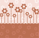 Brown retro card with flowers. And place for text Royalty Free Stock Photos