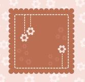 Brown-Retro- Karte mit Blumen Stockbild