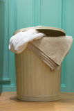 Brown retro laundry bin Royalty Free Stock Photography