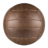 Brown retro soccer ball. Brown leather traditional soccer ball on white background stock images