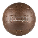 Brown retro soccer ball. Brown leather traditional soccer ball on white background stock image