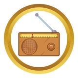 Brown retro style radio receiver vector icon Stock Photos