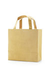 Brown reusable paper bag. On white background stock photography