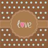 Brown ribbon and label with word love. Card. Royalty Free Stock Image