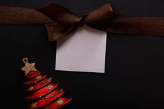 Brown ribbon with message tag Stock Images