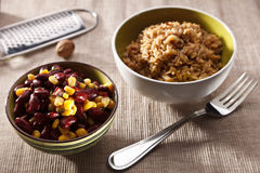 Brown rice with bean and corn Royalty Free Stock Photography