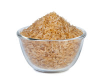 Brown rice in a bowl. Royalty Free Stock Image