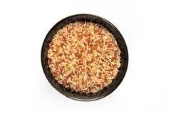 Brown rice on bowl Stock Photos